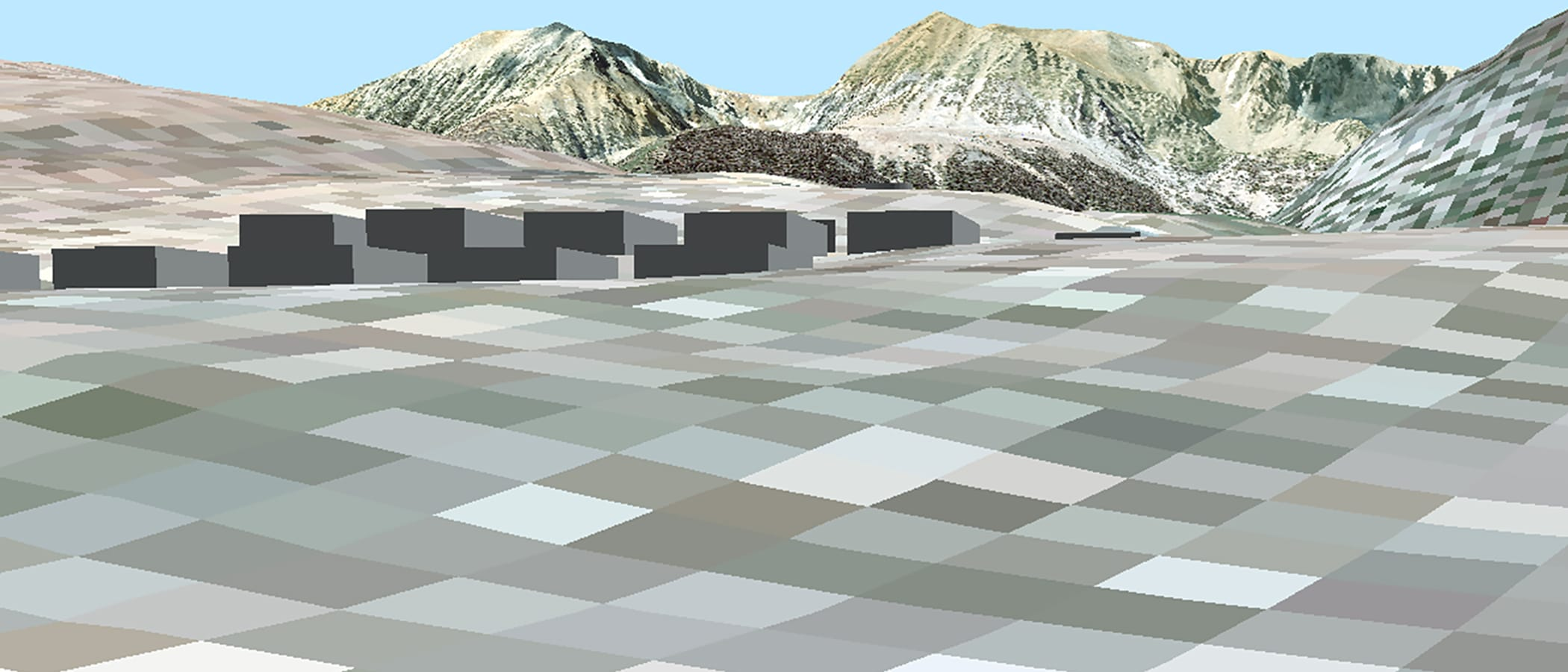 Computer generated simulation from the Tioga Inn project plans of the buildings as blocks on the digital-looking raised-relief landscape with the mountains of Tioga Pass in the distance.